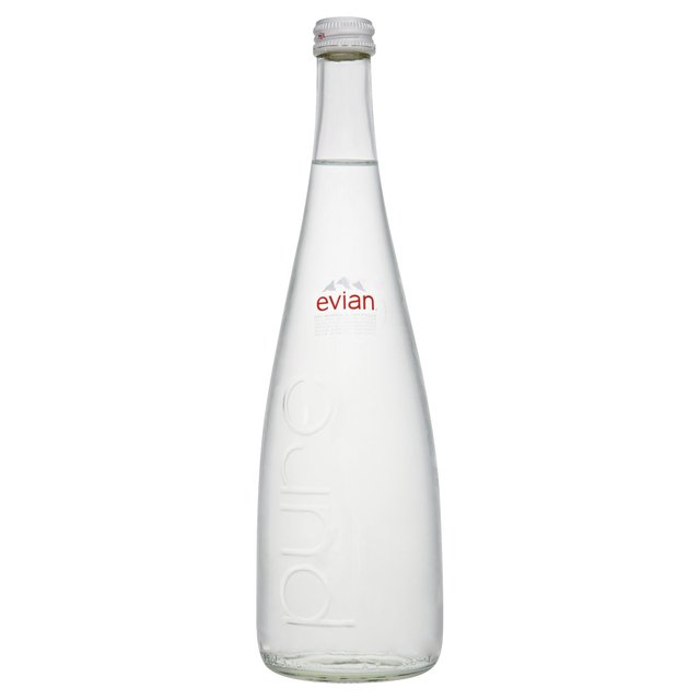 Evian Mineral Water Glass Bottles 750ml