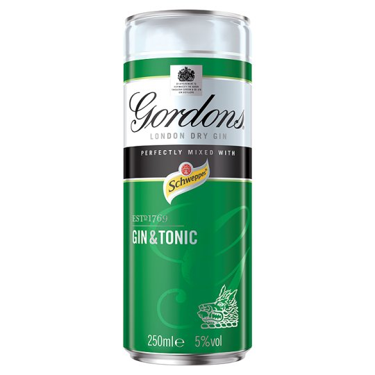 Gordons & Schweppes Tonic Water Cans - 12 x 250ml